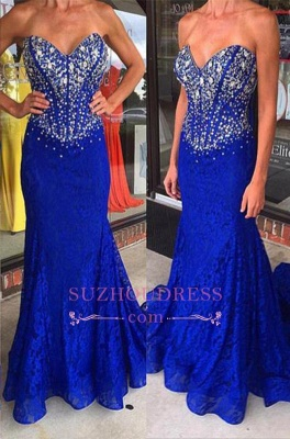 Lace Sheath Royal Blue Crystal Evening Gown Mermaid Sweetheart  Prom Dresses_2
