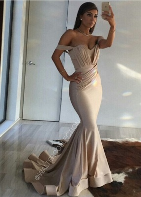 Off Shoulder Sexy Formal Evening Dress Sheath  Long Prom Dresses Custom Made CE0094_1