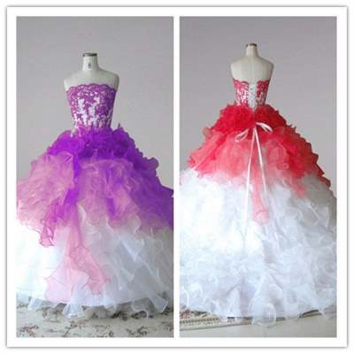 Red and White Quincenera Dresses Lace Sweet 16 Stage Decoration for Pageant Dress_2