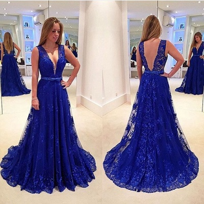 A-line V-neck  Royal Blue Lace Prom Gowns Sleeveless Popular Summer Evening Dresses CE0042_3
