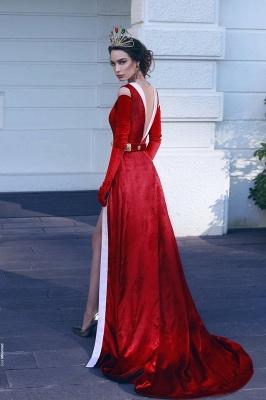Elegant Red V-Neck Evening Dresses | Velvet Side Slit A-line Prom Dresses_3