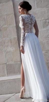 White Lace Sheer Long Sleeve Wedding Dresses Side Slit Chiffon Evening Dresses_2