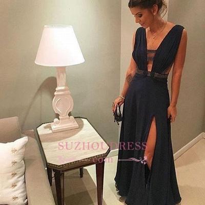 Floor-length Split-Front Dark-Navy Chiffon Deep-v-neck Beading Evening Dress_1