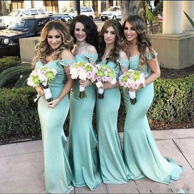 Lace Off The Shoulder Dress for Maid of Honor Mermaid Mint Long Bridesmaid Dress_3