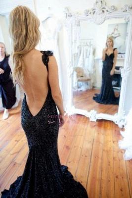 Black Straps Mermaid Sweep-Train Sequined Modern Sleeveless Prom Dress_1
