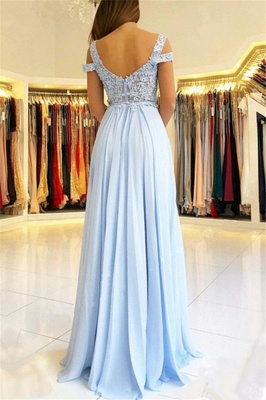 Lace Appliques Open Back Prom Dresses  | Chiffon Sexy Slit  Formal Evening Dress_4