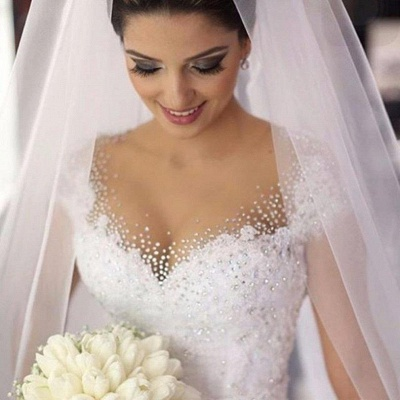 Gorgeous Tulle Crystal Wedding Dresses  Lace Short Sleeve Bridal Gowns_3