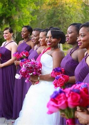 Simple Halter Purple Chiffon Long Bridesmaid Dresses Latest Simple Ruffles Wedding Dress Under 100_1