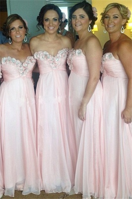 Sweetheart Pink Bridesmaid Dresses Beads Flowers Appliques Chiffon  Maid of Honor Dress_1
