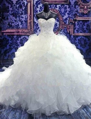 Crystal Sweetheart Ball Gown Princess Dress Latest Beadings Organza Wedding Dress_1