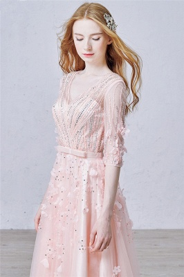 Cute Pink Flowers Half Sleeve Prom Dress with Beadings V-Neck Bowknot Tulle Evening Gowns_1