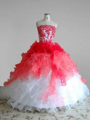 Red and White Quincenera Dresses Lace Sweet 16 Stage Decoration for Pageant Dress_1