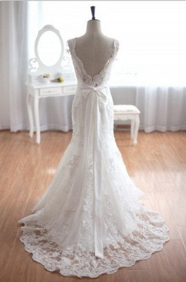 New Arrival V-Neck Mermaid Lace Bridal Gown Bowknot Open Back Sweep Train Wedding Dress_3