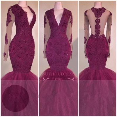 V-Neck  Long-Sleeves Tulle Mermaid Burgundy Beaded Appliques Prom Dress BA5211_1
