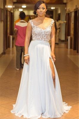 Elegant A-Line Chiffon Jewel Lace Ruffles Prom Dress Sleeveless Appliques Side Slit Formal Dresses On Sale_1