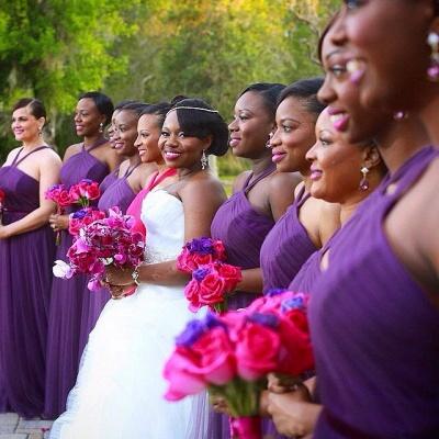 Simple Halter Purple Chiffon Long Bridesmaid Dresses Latest Simple Ruffles Wedding Dress Under 100_2