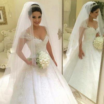 Gorgeous Tulle Crystal Wedding Dresses  Lace Short Sleeve Bridal Gowns_1