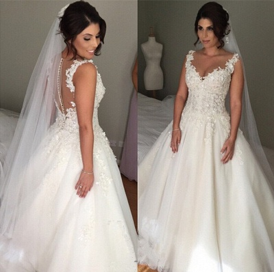 Latest A-line Lace Applique  Bridal Gown Open Back Sleeveless Court Train Wedding Dress JT116_3