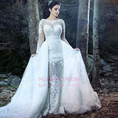 Amazing Sheath Long Sleeve Wedding Gowns  Lace Sheer Tulle Overskirt Wedding Dresses_1