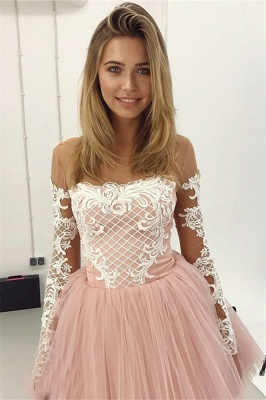 Glamorous A-Line Pink Hoco Dresses | Short Lace Long Sleeves Homecoming Dresses_3