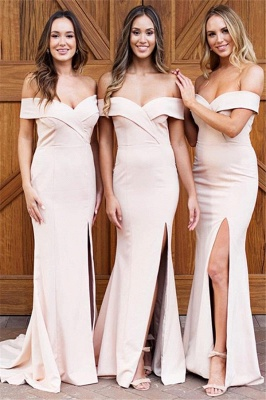 Pale Pink Sexy  Bridesmaid Dresses    Off The Shoulder Side Slit Formal Evening Dress_1