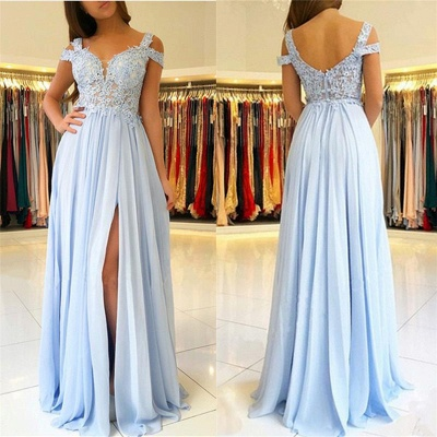Lace Appliques Open Back Prom Dresses  | Chiffon Sexy Slit  Formal Evening Dress_3