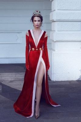 Elegant Red V-Neck Evening Dresses | Velvet Side Slit A-line Prom Dresses_1