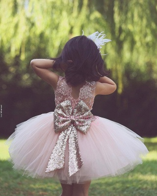Flower Scoop Pink Tulle Lace-Applique Flower Girls Dresses