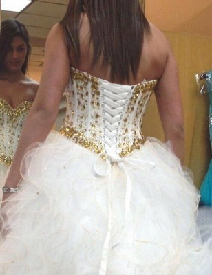 Sweetheart Crystal Tulle Bridal Gowns Floor Length Lace Up Wedding Dresses_3