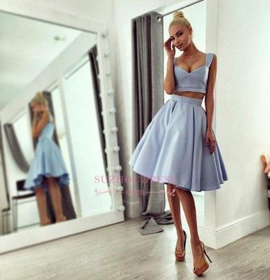 Straps Light Blue   Homecoming Dress Knee Length Chic Prom Dress_1