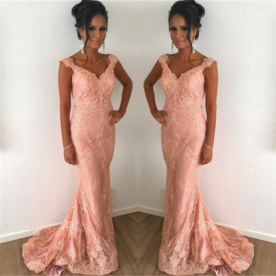 Exquisite Straps V-Neck Lace Coral Prom Dress Sleeveless Mermaid Appliques Formal Dresses with Sweep Train_3
