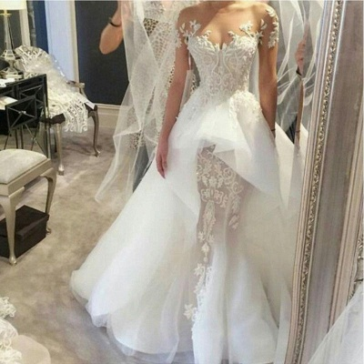 Affordable Short Sleeves Court Train Wedding Dresses Fit and Flare Tulle Lace Bridal Gowns Online_3