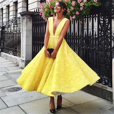 Sexy Deep V-neck Daffoddil Evening Dresses | Sleeveless Elegant Long Formal Dresses_3