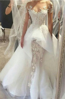 Affordable Short Sleeves Court Train Wedding Dresses Fit and Flare Tulle Lace Bridal Gowns Online_1