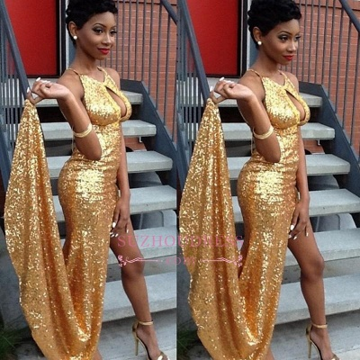 Halter Side-Slit Sequined Newest Sexy Gold Evening Gown_1