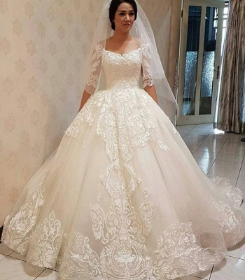Elegant Off-the-shoulder Half Sleeve Puffy Lace Wedding Dress | Bridal Gowns Online_3