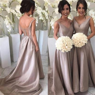 Sheer-Tulle V-neck Stretch-Satin Simple Open-Back Sleeveless Bridesmaid Dress_3