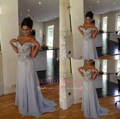 Off The Shoulder Silver Beaded Sequins Evening Dress Chiffon A-line  Prom Dresses_1