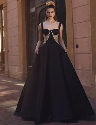 Glamorous A-Line Black Straps Evening Dresses  Straps Lace Prom Dresses_3