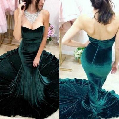 Strapless Dark Green Velvet Evening Dress Sexy Mermaid Open Back Elegant Prom Dress_3