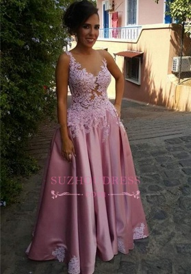 Buttons Sleeveless Appliques Pink A-Line Delicate Prom Dress_2