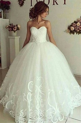 Elegant Sweetheart Bride Dress Ball Gown Lace Appliques Wedding Dresses_1