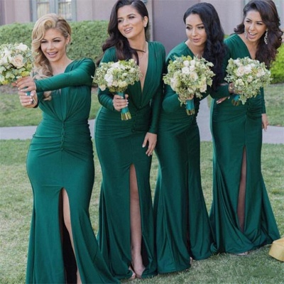 Long-Sleeves Sexy Mermaid Green V-Neck Front-Split Bridesmaid Dresses_3