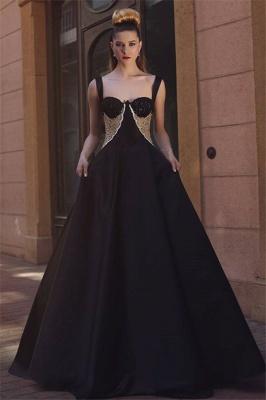 Glamorous A-Line Black Straps Evening Dresses  Straps Lace Prom Dresses_1