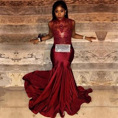 Mermaid Burgundy Prom Dresses   High Neck Sexy Sleeveless Evening Gown_3