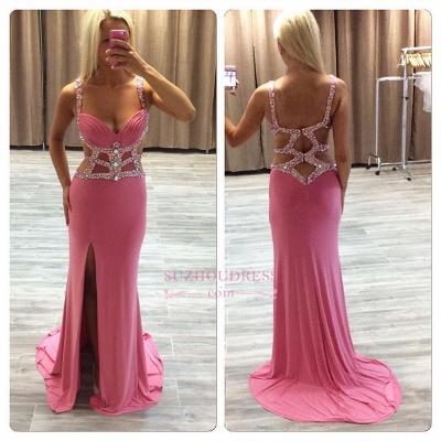Side-Slit Crystal Ruffles Glamorous Sheath Straps Prom Dress BA4875_1