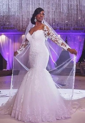 Sexy Mermaid Lace long Sleeve Plus Size Wedding Dress  High Quality Bridal Gowns_2