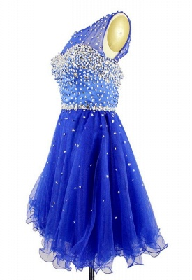 Elegant Crystal Royal Blue Short Cocktail Dress Sparkly Organza Beadings Mini Homecoming Dresses CJ0456_2