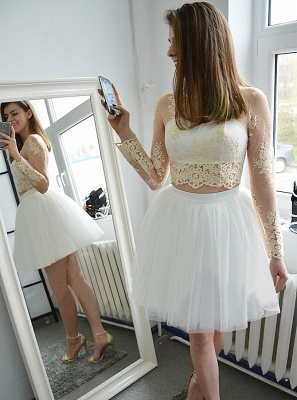 Glamorous Short Long Sleeves Homecoming Dresses | Champagne Appliques A-Line Hoco Dress_1