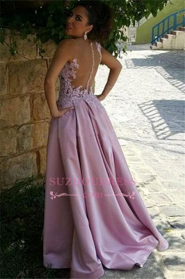 Buttons Sleeveless Appliques Pink A-Line Delicate Prom Dress_3